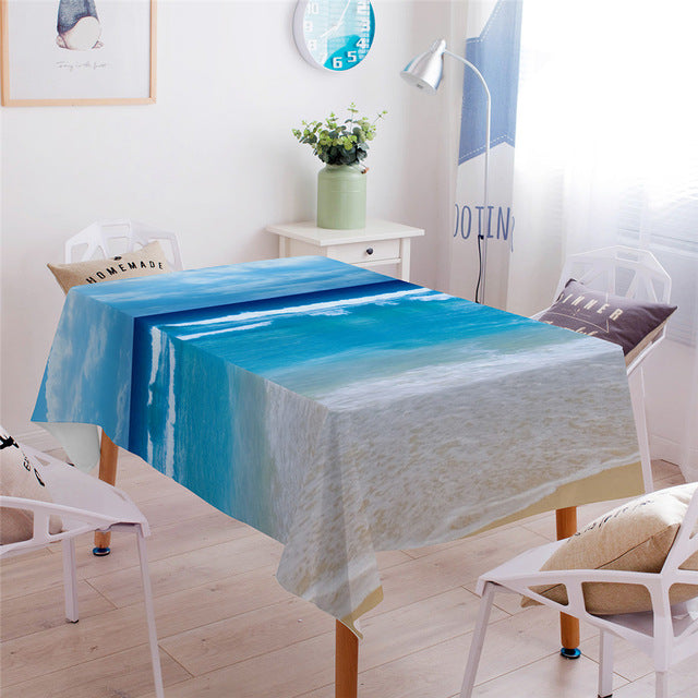 Dropshipful Beach Ocean Dining Tablecloth Waterproof Table Cloth for Rectangular Table Home Decor Table Cover 3D Dropshipping - Dropshipful.com