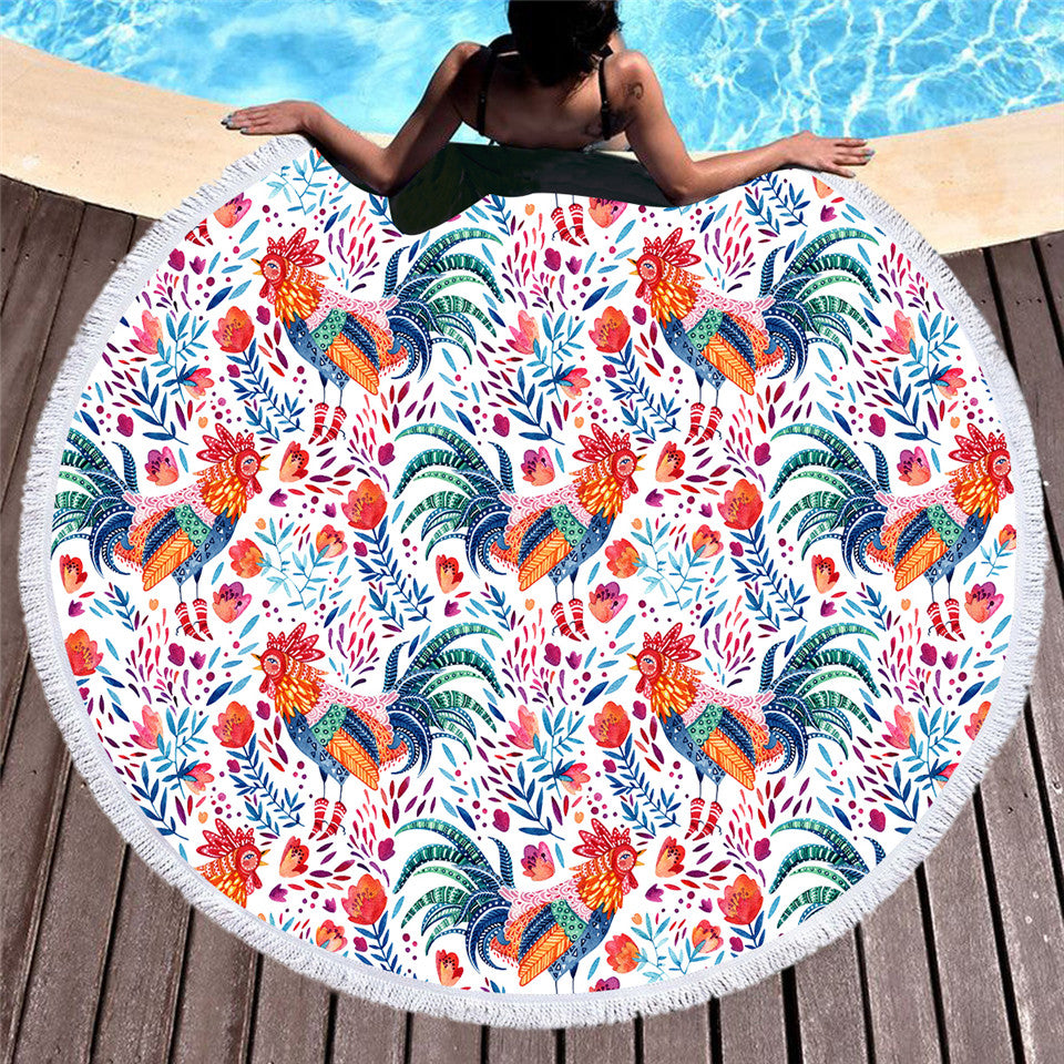 Dropship Cook Round Beach Towel Microfiber Summer Towel  Cartoon 150cm Rooster Floral - Dropshipful.com
