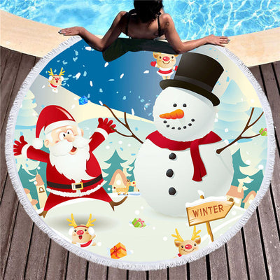 Dropship Round Beach Towel With Tassel Christmas 150cm - Dropshipful.com