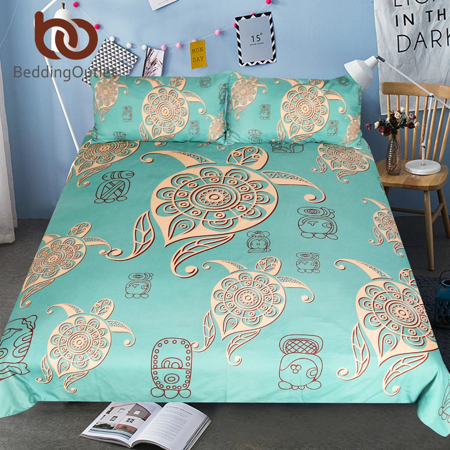 Dropshipful Turtles Bedding Set Animal Tortoise Duvet Bed Cover Green Yellow Home Textiles 3pcs Mandala Flower Cartoon Bed Set - Dropshipful.com