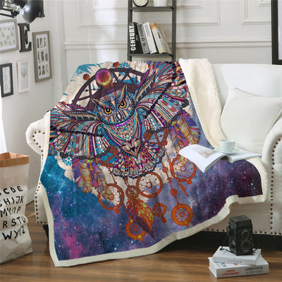 Owl Dreamcatcher Galaxy Blanket Microfiber Bohemia Plush Sherpa Fleece Throw Blanket - Dropshipful.com