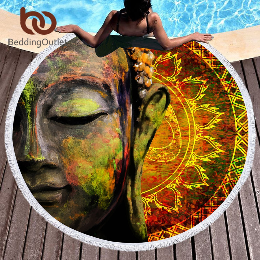 Dropshipful Buddha Round Beach Towel Large for Adults Microfiber Picnic Yoga Mat Lotus Flower Buddhist Faith Sun Block Blanket - Dropshipful.com