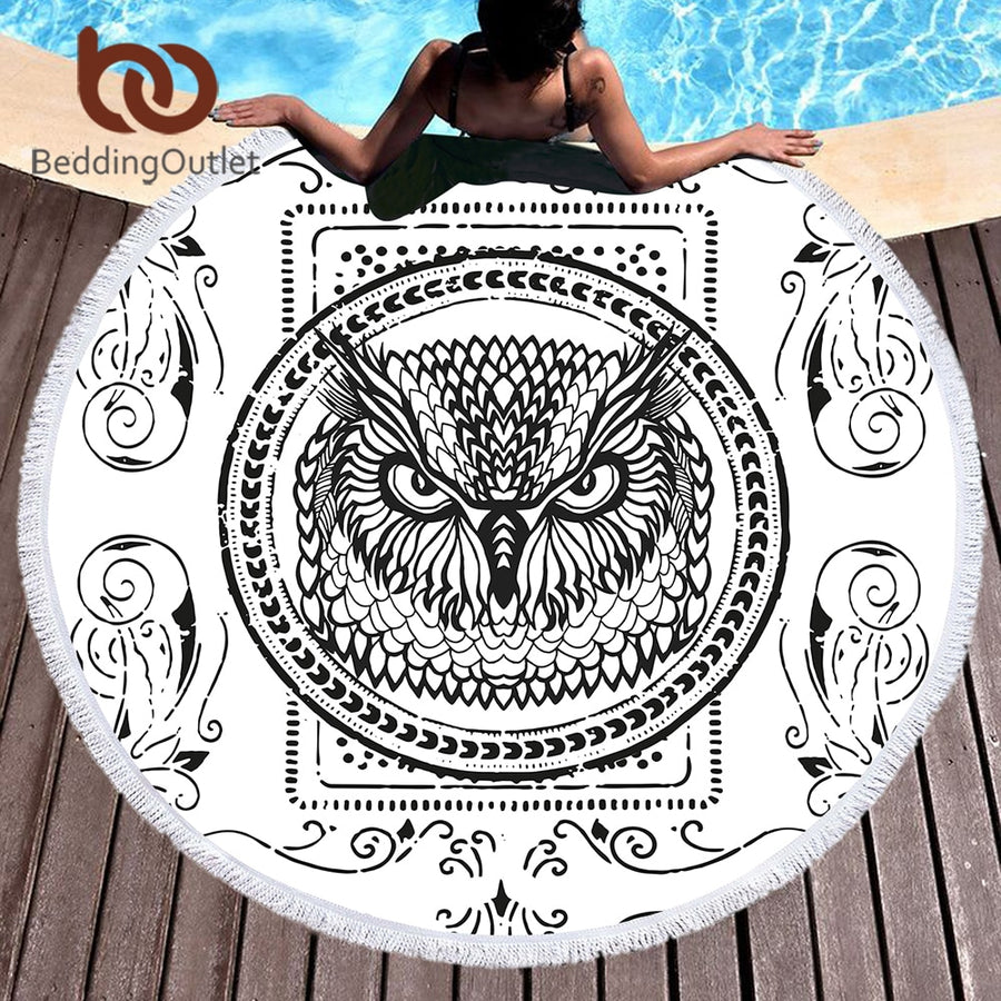 Dropshipful Cartoon Owl Large Round Beach Towel for Adults Microfiber Toalla Animal Card Picnic Blanket White Yoga Mat 150cm - Dropshipful.com