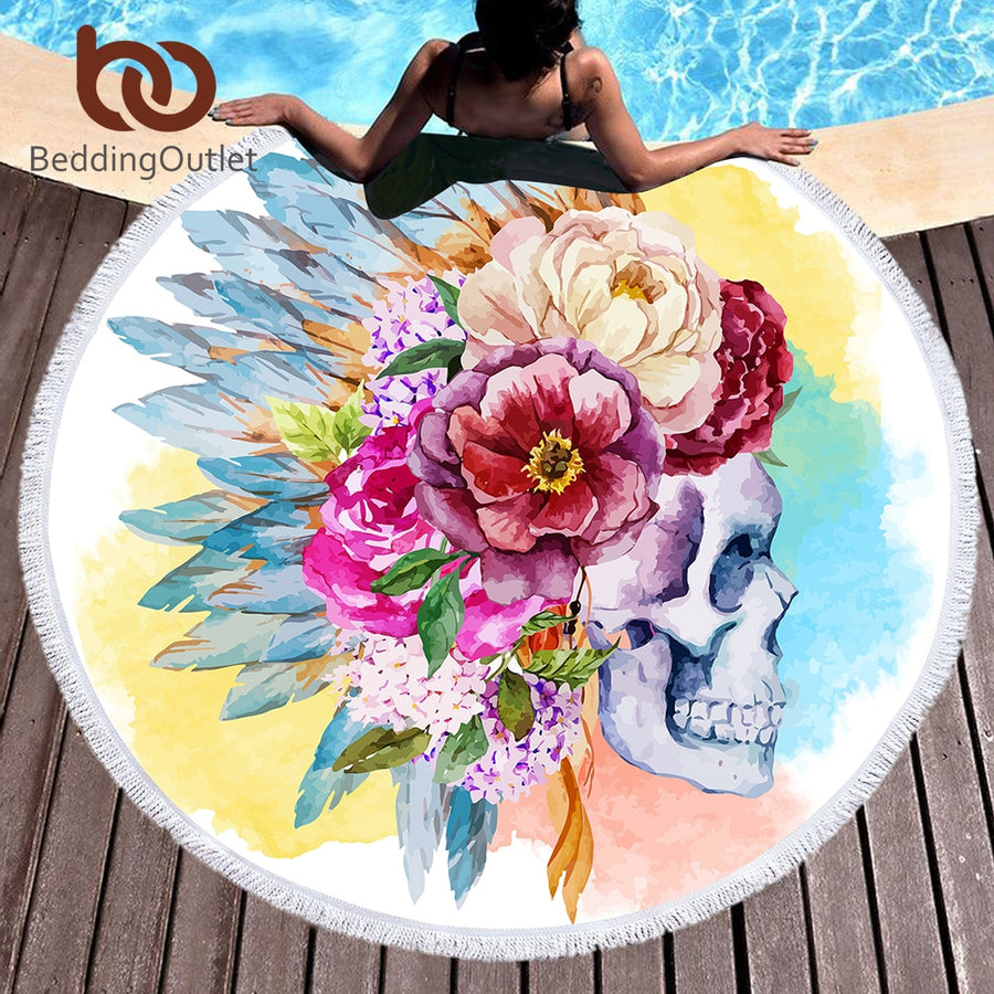 Dropshipful Colorful Skull Round Beach Towel Floral Tassel Tapestry Watercolor Flower Yoga Mat Gothic Toalla Blanket 150cm - Dropshipful.com