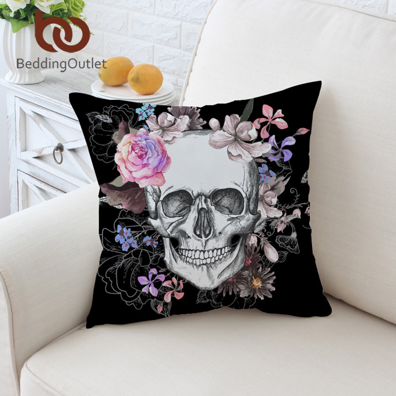 Dropshipful Sugar Skull Cushion Cover Floral Pillow Case Pink Roses Flowers Gothic Throw Cover for Sofa Black Pillow Covers - Dropshipful.com