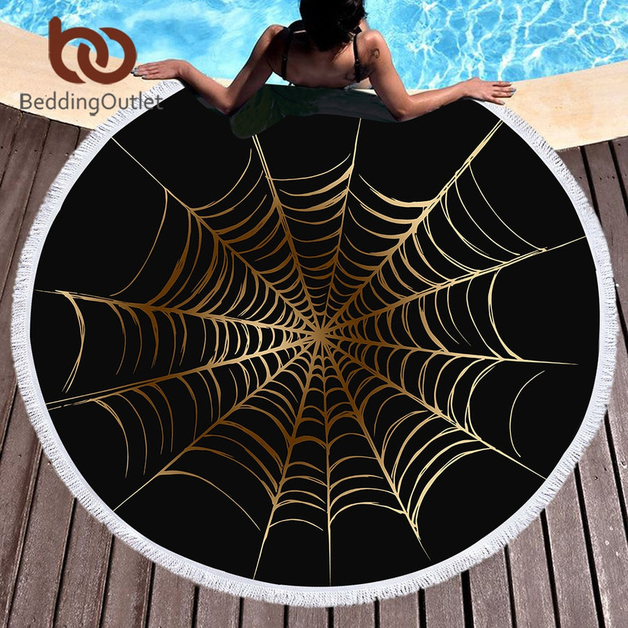 Dropshipful Cobweb Large Round Beach Towel Golden and Black Microfiber Adults Towel Yoga Mat Spiderweb Blanket toallas 150cm - Dropshipful.com