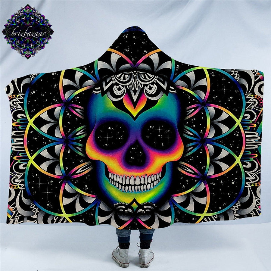Chaos By Brizbazaar Hooded Blanket for Adult Gothic Colored Skull Sherpa Fleece Wearable Throw Blanket Microfiber Galaxy Bedding - Dropshipful.com