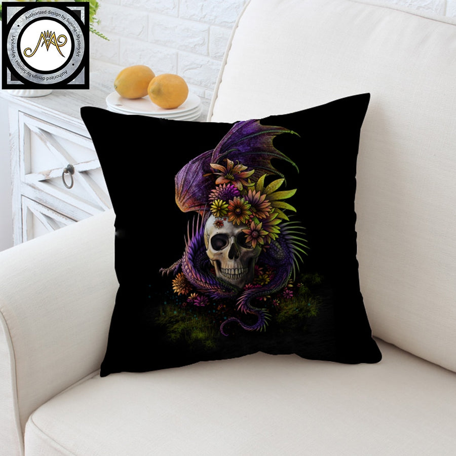 Flowery Skull by SunimaArt Cushion Cover Gothic Purple Pillow Case Monster Throw Cover Floral Decorative Pillow Cover for Sofa - Dropshipful.com