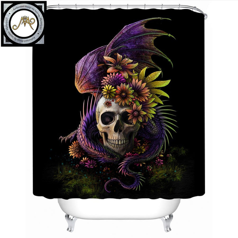 Flowery Skull by SunimaArt Shower Curtain Gothic 3D Waterproof Dangerous Monster Bath Curtain With Hooks for Bathroom 180x180cm - Dropshipful.com