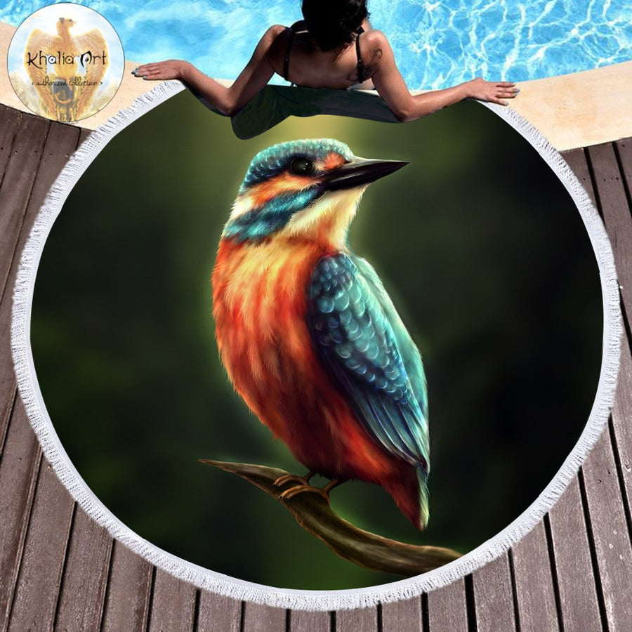 Artsailing Kingfisher by Khalia Art Round Beach Towel for Adults Microfiber 3D Furry Bird Sunblock Blanket Animal 150cm Yoga Mat - Dropshipful.com