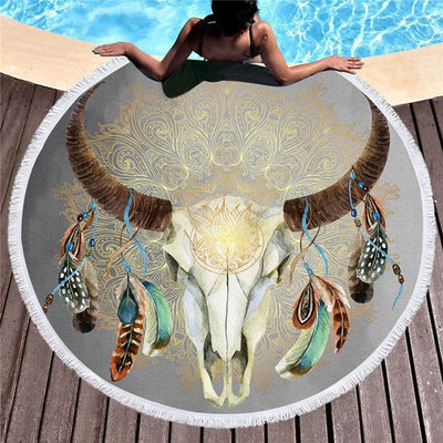 Dropshipful Skull Feather Round Beach Towel for Adults Tribal Microfiber Towel with Tassels Indian Bohemian Picnic Mat toallas - Dropshipful.com