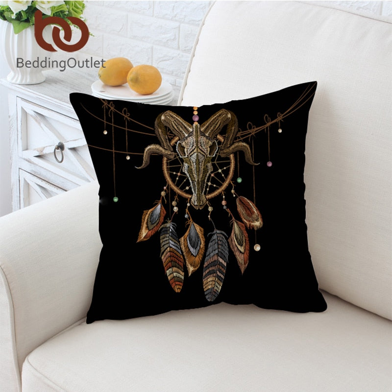 Dropshipful Indian Skull Cushion Cover Feather Dreamcatcher Pillowcase Black Gothic Throw Cover Tribal Decorative Pillow Cover - Dropshipful.com