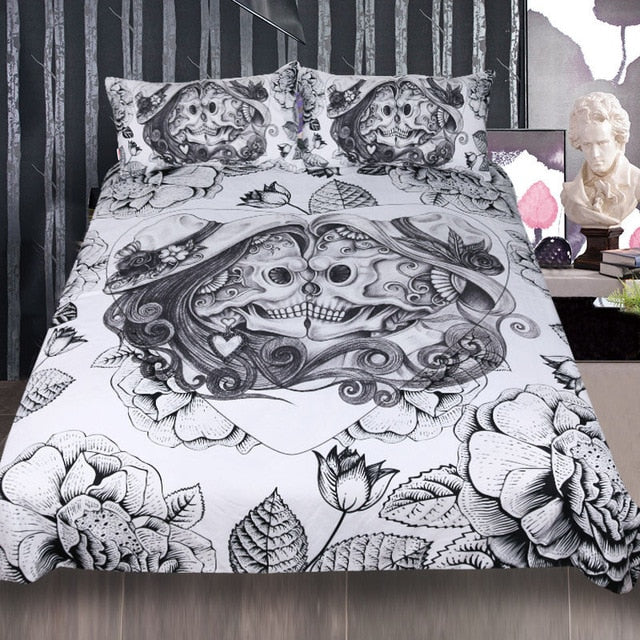 Dropshipful Skull Bedding Set King Top Rated Boy Gothic Duvet Cover 3pcs Couples Vintage Bedclothes Floral Double Love Bed Set - Dropshipful.com