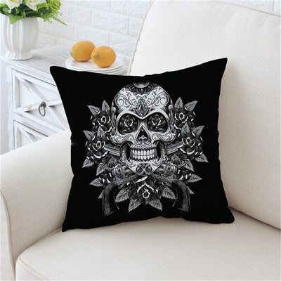 Sugar Skull Cushion Cover Vintage Pillow Case Flowers Throw Cover Gothic - Dropshipful.com