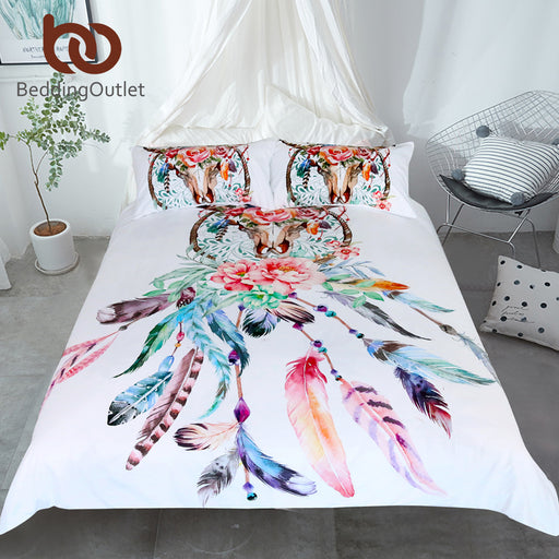 Dropshipful Floral Dreamcatcher Bedding Set King Hipster Feathers Skull Duvet Cover Bohemian Gothic Bedclothes Multi Colors