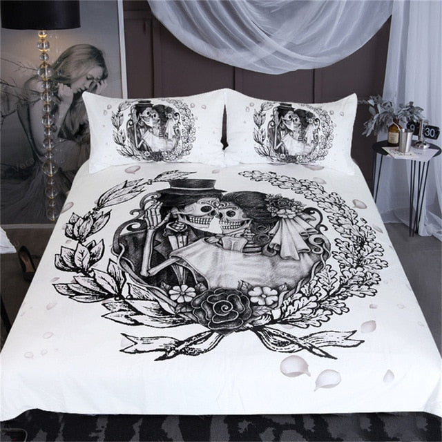 Dropshipful Skull Bedding Set Queen Wedding Dress Duvet Cover Couples Vintage Gothic Home Textiles Floral Top Rated Bed Set - Dropshipful.com