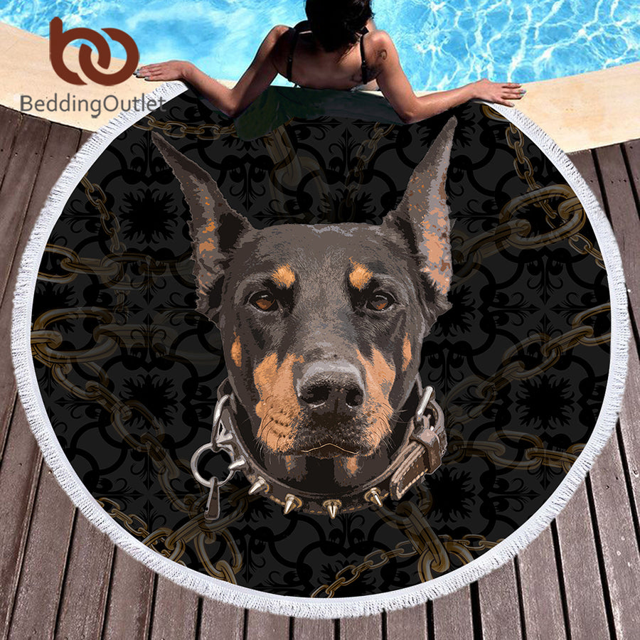 Dropshipful Doberman Large Round Beach Towel Chain 3D Printed Microfiber Towel Blanket Animal Dog Picnic Mat drap de plage - Dropshipful.com
