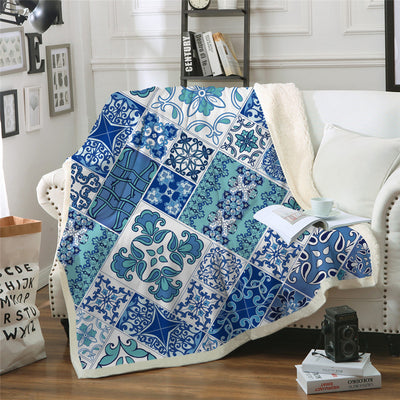 Mosaic Throw Blanket Blue and White Sherpa Sofa Plaid  Floral Home Textiles 150x200cm - Dropshipful.com