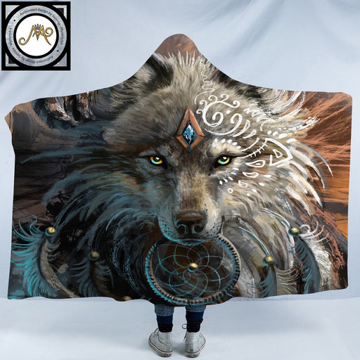 Wolf Warrior by SunimaArt Hooded Blanket Adults Indian Wolf Dreamcatcher Sherpa Fleece Microfiber Wearable Picnic Throw Blanket - Dropshipful.com