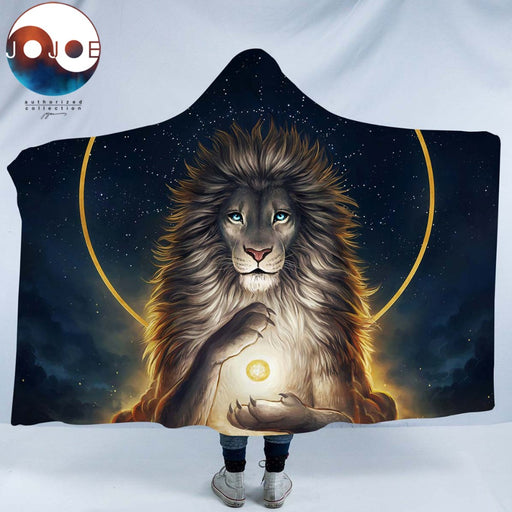 Soul Keeper by JoJoesArt Hooded Blanket for Adults Sherpa Fleece Lion God In The Sky Microfiber Wearable Blanket Golden Bedding - Dropshipful.com