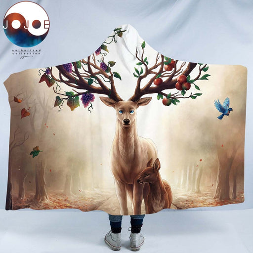 Seasons Change by JoJoesArt Hooded Blanket for Adults Sherpa Fleece Floral Deer Elk Microfiber Wearable Blanket on the Bed Sofa - Dropshipful.com
