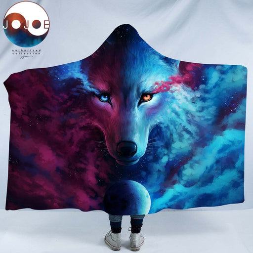 Where Light And Dark Meet by JoJoesArt Hooded Blanket for Adults Sherpa Fleece Wolf Eye 3d Printed Microfiber Wearable Blanket - Dropshipful.com