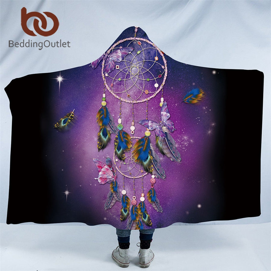 Dropshipful Dreamcatcher Hooded Blanket for Adults Purple Sherpa Fleece Butterfly Bohemian Wearable Throw Blanket Microfiber - Dropshipful.com