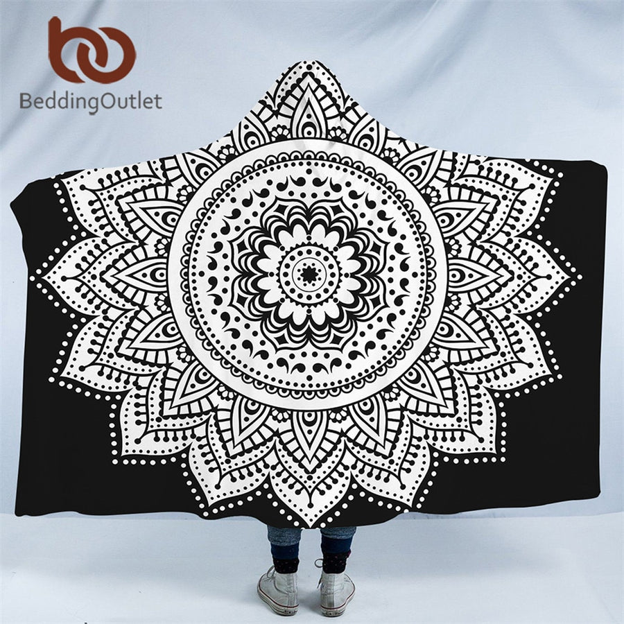 Dropshipful Boho Mandala Hooded Blanket for Adults Kids Floral Sherpa Fleece Lotus Wearable Throw Blanket Microfiber on Sofa - Dropshipful.com