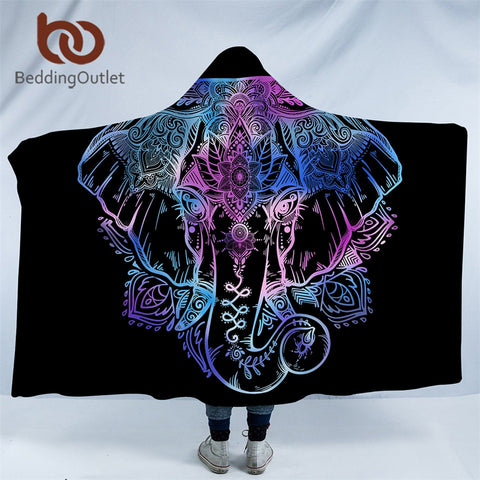 Dropshipful Bohemian Elephant Hooded Blanket for Adults Sherpa Fleece Lotus Flower Wearable Picnic Bed Throw Blanket 150x200cm - Dropshipful.com