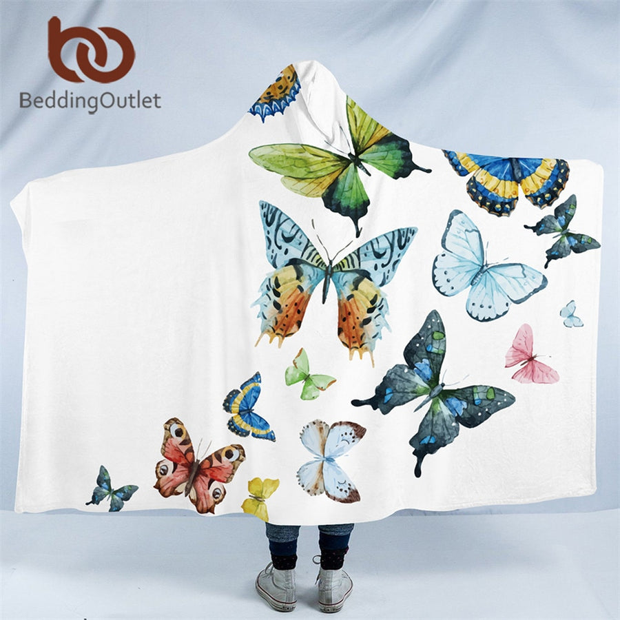 Dropshipful Flying Butterflies Hooded Blanket Adults Microfiber Sherpa Fleece Kids Wearable Throw Blanket for Bed Sofa Picnic - Dropshipful.com