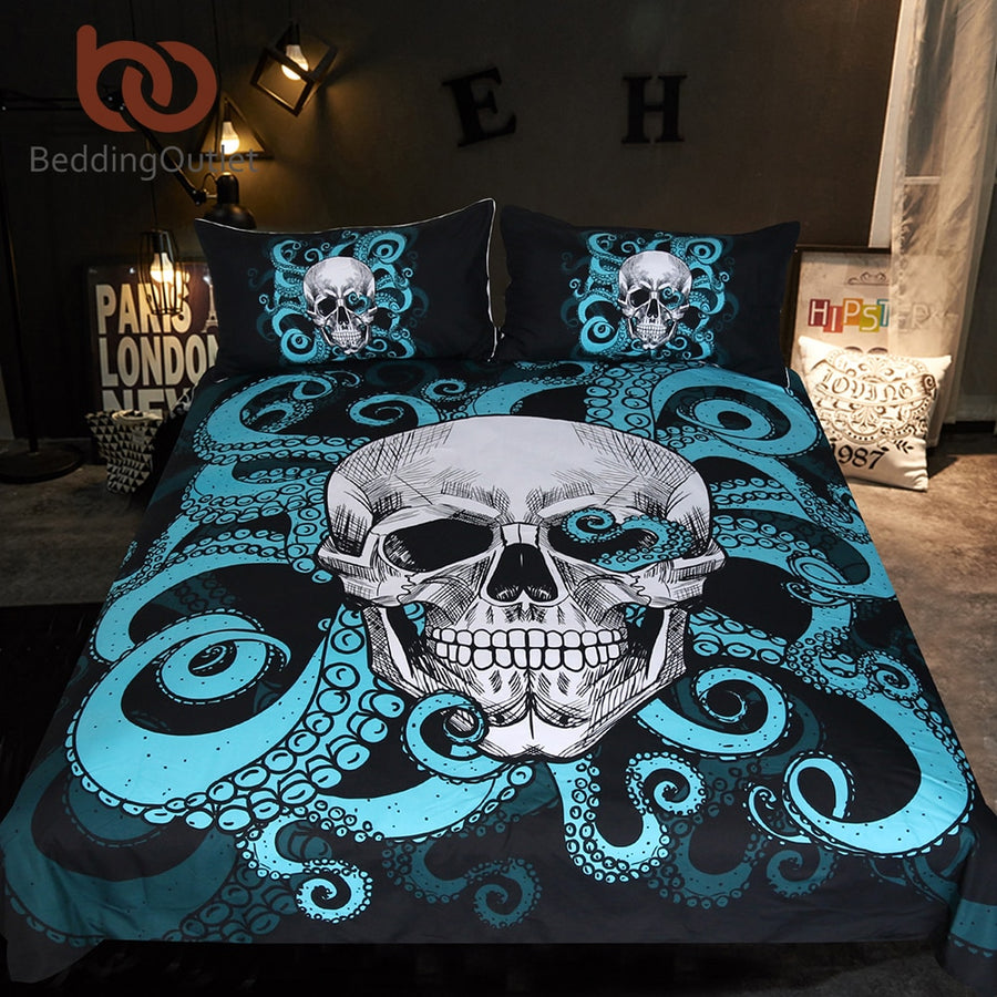Dropshipful Octopus and Skull Bedding Set Blue Tentacles Hand Duvet Cover Set Gothic Bedclothes Vintage Home Textiles 3-Piece - Dropshipful.com