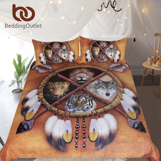 Dropshipful Wolf Dreamcatcher Bedding Set Native American Duvet Cover 3D Animal Tribal Bedspreads Lion Tiger Leopard Bed Set - Dropshipful.com