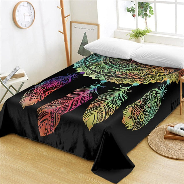 Dropshipful Dreamcatcher Mandala Bed Sheets One Piece Colorful Feathers Flat Sheet Bed Linen Bohemian Home Textiles sabanas - Dropshipful.com