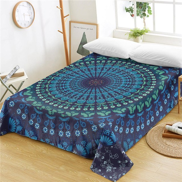 Dropshipful Mandala Queen Bed Sheets One Piece Purple Blue Flat Sheet Soft Bedding Bedspreads Floral Bohemian Tapestry sabanas - Dropshipful.com