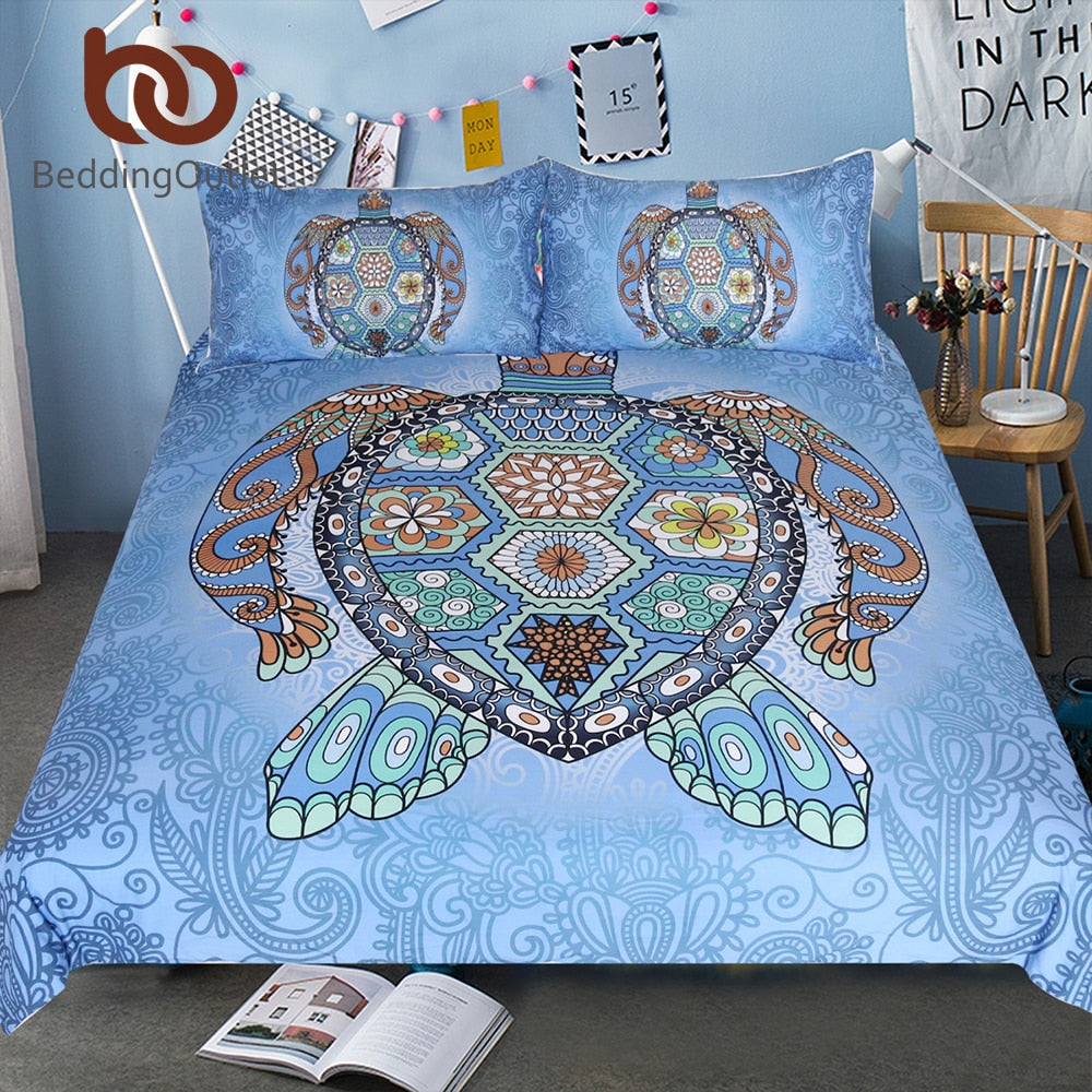 Dropshipful Turtles Blue Bedding Set Tortoise Mandala Duvet Bed Cover Animal Home Textiles 3-Piece Flower Paisley Bed Set - Dropshipful.com