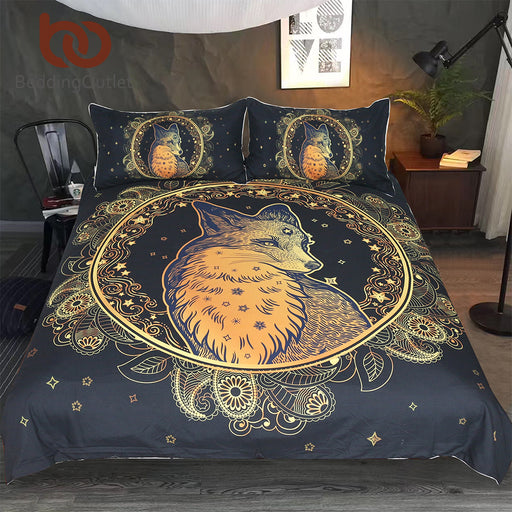Dropshipful Golden Fox Bedding Set Animal Stars Duvet Cover Set Paisley Home Textiles 3-Piece Leaf Leaves Flower Bedspreads - Dropshipful.com