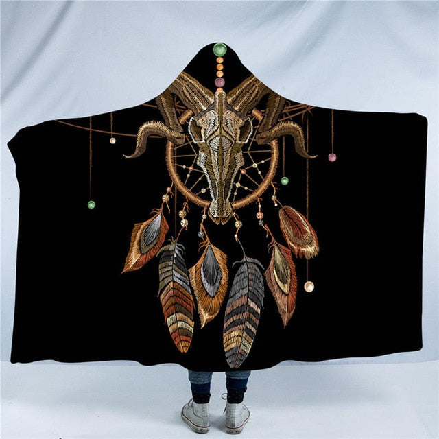 Dropshipful Bull Head Skull Hooded Blanket Skeleton Bull Sherpa Fleece Wearable Blanket Floral Tribal Throw Blanket 150x200cm - Dropshipful.com