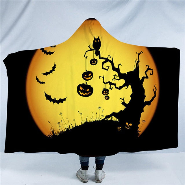 Dropshipful Cartoon Pumpkin Hooded Blanket Halloween Sherpa Fleece Wearable Blanket Nightmare Print Throw Blanket 150x200cm - Dropshipful.com
