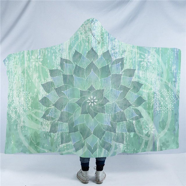 Dropshipful Floral Hooded Blanket Mandala Blue Green Sherpa Fleece Wearable Blanket Bohemian Lotus Throw Blanket for Sofa Bed