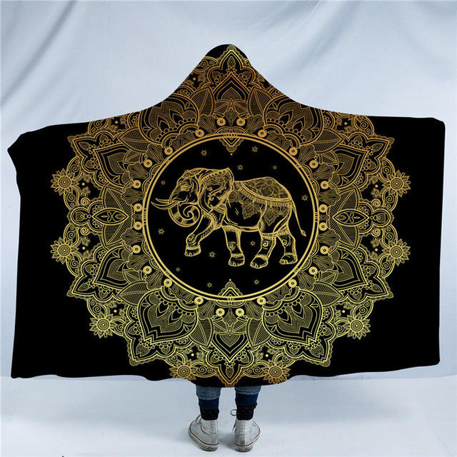 Dropshipful Mandala Hooded Blanket Elephant Star Moon Sherpa Fleece Wearable Blanket Black Golden Throw Blanket for Sofa Bed - Dropshipful.com