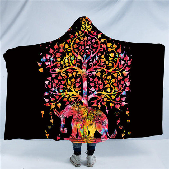 Dropshipful Colorful Bohemian Hooded Blanket Indian Elephant Sherpa Fleece Wearable Throw Blanket Black White Exotic for Sofa - Dropshipful.com