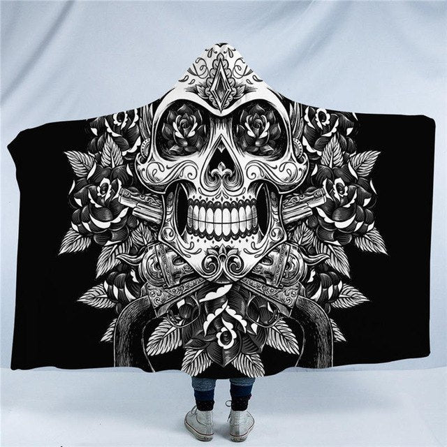 Dropshipful Floral Skull Hooded Blanket for Adult Kids Vintage Sherpa Fleece Wearable Blanket Sugar Skull Gothic Home Textiles - Dropshipful.com