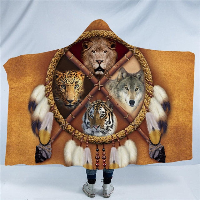Dropshipful Dreamcatcher Adults Hooded Blanket Bear Tiger Wolf Indian Sherpa Fleece Wearable Blanket Tribal Home Textiles - Dropshipful.com