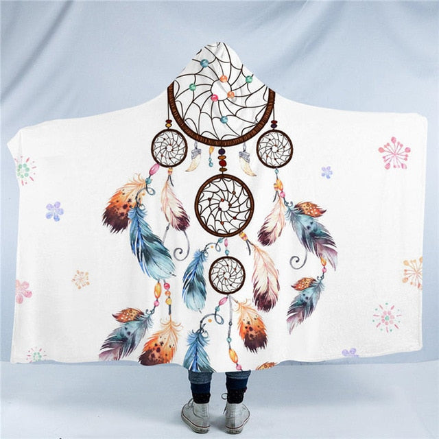 Dropshipful Dreamcatcher Collection Hooded Blanket Chic Watercolor Sherpa Fleece Wearable Blanket Bohemia Floral Home Textiles - Dropshipful.com