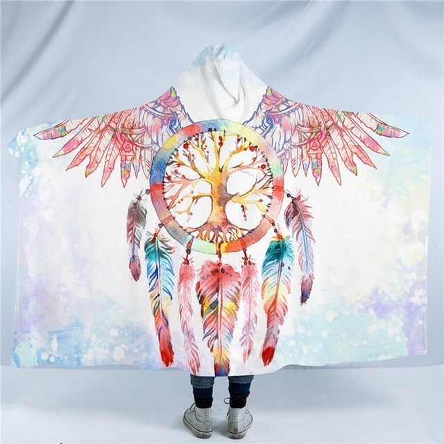 Dropshipful Dreamcatcher Hooded Blanket Angel Wings Sherpa Fleece Wearable Blanket With Hat Colorful Home Textiles for Sofa - Dropshipful.com