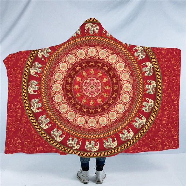 Dropshipful Elephant Bohemian Hooded Blanket Mandala Sherpa Fleece Wearable Throw Blanket Adults Kids Red Black Blue Bedding - Dropshipful.com