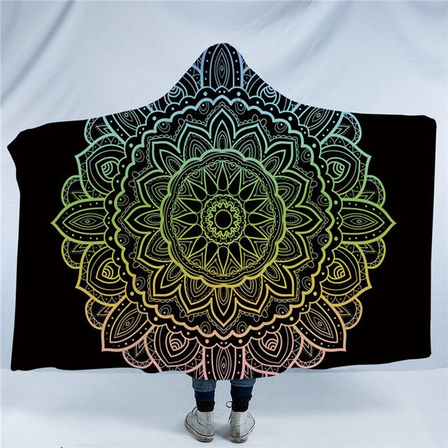 Dropshipful Mandala Hooded Blanket Luxurious Sherpa Fleece Wearable Throw Blanket Adults Kids Flowers Print Bohemian Bedding - Dropshipful.com
