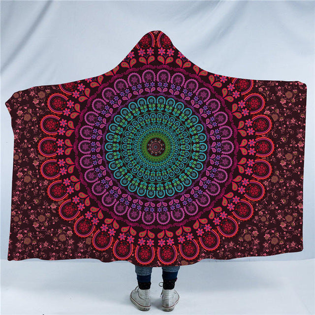 Dropshipful Floral Mandala Hooded Blanket Blue Orange Purple Sherpa Fleece Wearable Throw Blanket Adults Kids Bedding Bohemia