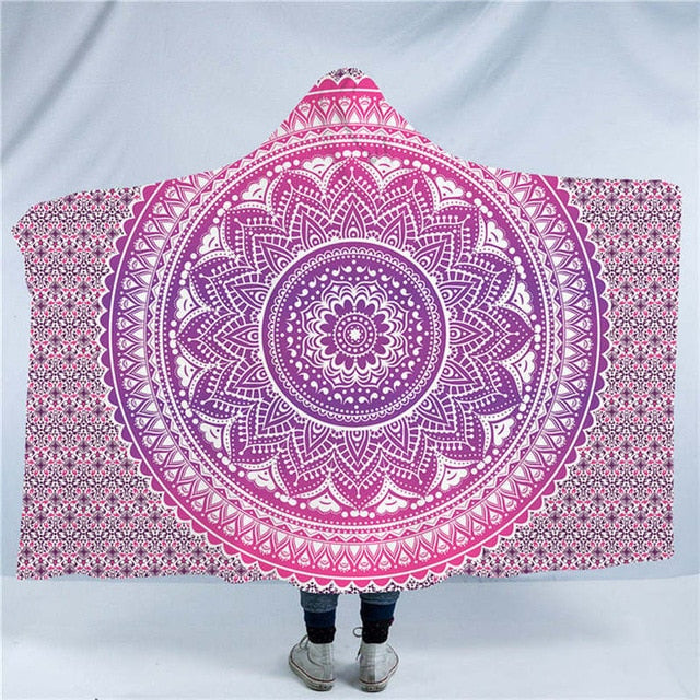 Dropshipful Flower Mandala Hooded Blanket Green Pink Purple Sherpa Fleece Wearable Blanket Bedding Bohemian Throw Blanket - Dropshipful.com