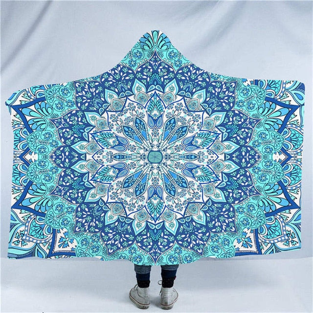 Dropshipful Mandala Hooded Blanket for Adults Blue and Purple Sherpa Fleece Wearable Blanket 150x200cm Bohemian Throw Blanket - Dropshipful.com